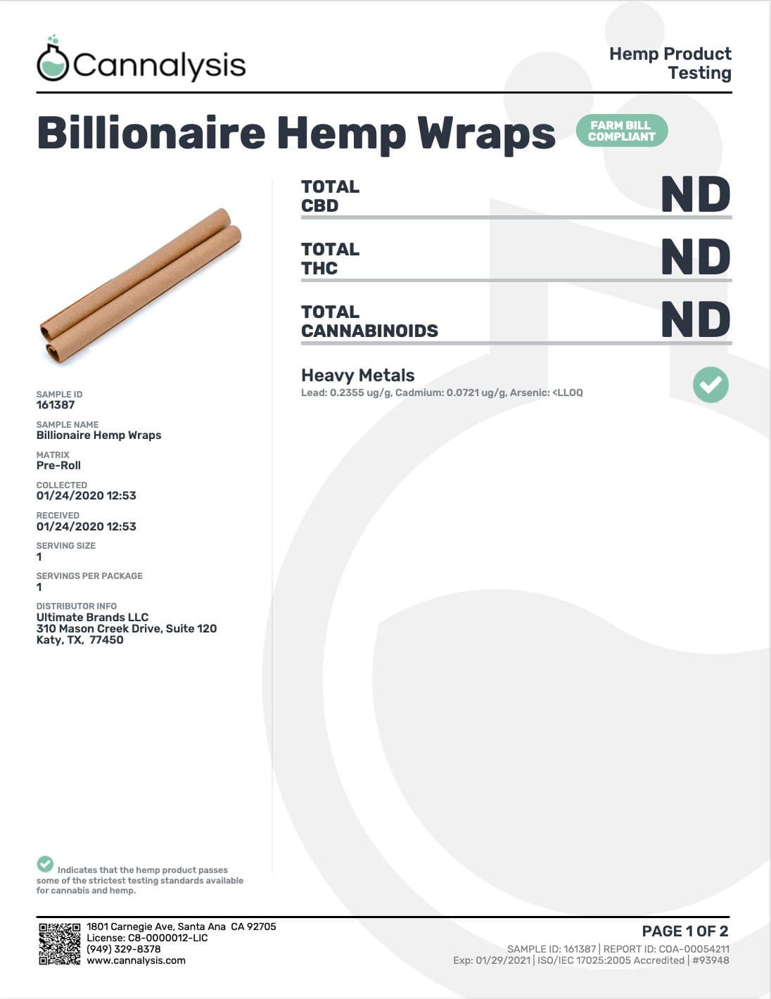 Billionaire Hemp Wraps COA page 1